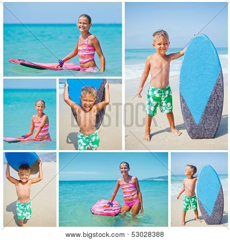 Girl and boy has fun with the surfboard
