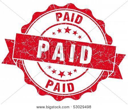 Paid Grunge Round Red Seal