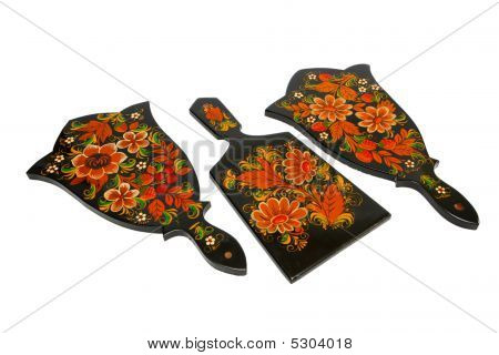 Three Russian Black Painted Cutting Boards Isolated