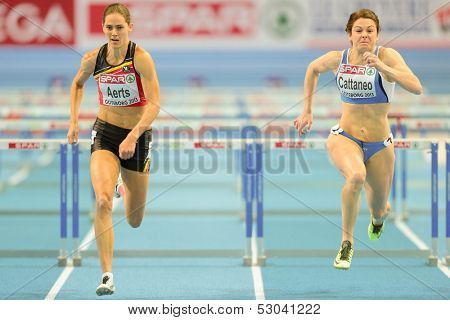 GOTHENBURG, SWEDEN - MARCH 1 Sara Aerts (Belgium) 3rd places 3rd in heat 2 of the women's 60m hurdles event during the European Athletics Indoor Championship on March 1, 2013 in Gothenburg, Sweden.