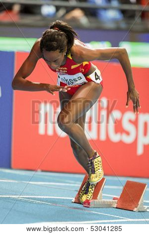 GOTHENBURG, SWEDEN - MARCH 1  Lorena Bokesa (Spain) places 3rd in heat 4 of the women's 400m event during the European Athletics Indoor Championship on March 1, 2013 in Gothenburg, Sweden.