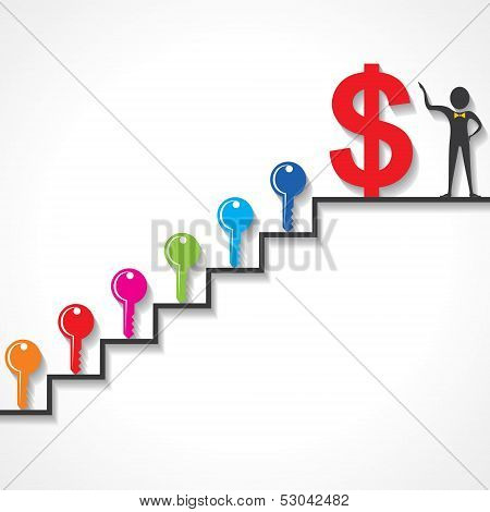 Different keys are required to make money stock vector