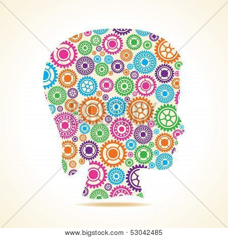 Group of colorful gears make a female face stock vector