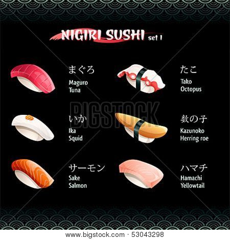 Nigiri sushi with tuna, octopus, herring roe, yellowtail, salmon and squid