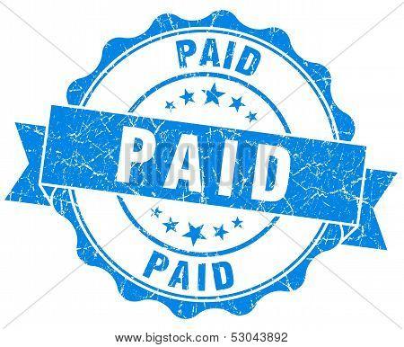 Paid Grunge Round Blue Seal