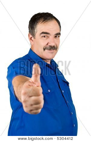 Mature Business Man Giving Thumbs Up