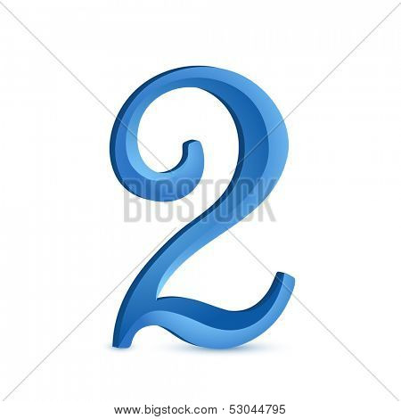 Custom digit 2. Vector illustration of number 2