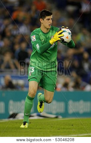 BARCELONA - OCT, 19: Thibaut Courtois of Atletico Madrid during a Spanish League match againts RCD Espanyol at the Estadi Cornella on October 19, 2013 in Barcelona, Spain