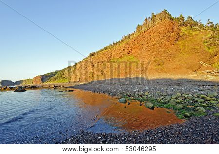 Red Glow And Reflections On An Ocean Coast