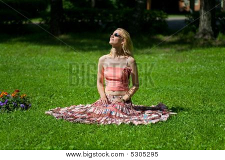 Girl Looks At The Sun
