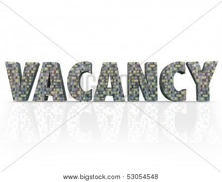Vacancy word made of apartment or condominium buildings with space or units for sale, lease or rent in a real estate market such as a metropolitan city or other urban area