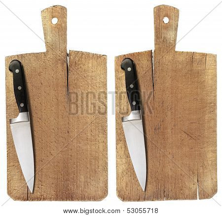 Old Wood Cutting Board And Knife