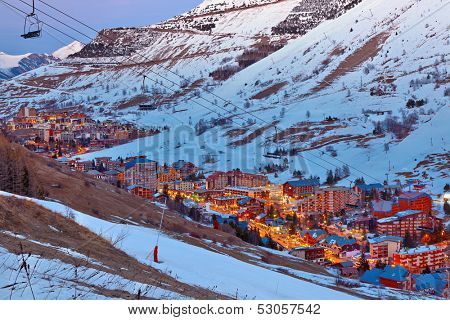 Ski resort in French Alps at dusk