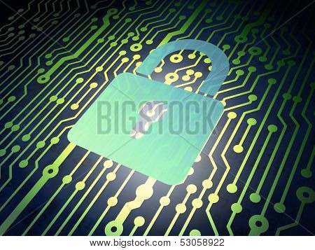 Data concept: circuit board with Closed Padlock