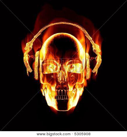 flammendes Schädel Kopfhörer