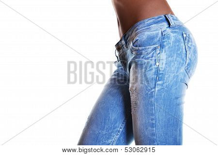 close-up shot of female wearing jeans