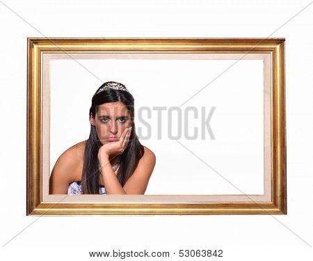 Sad bride inside frame,Lonely concept.