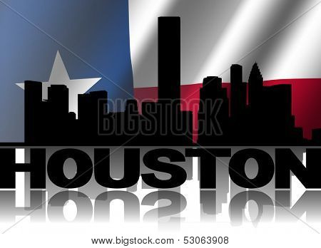 Houston skyline and text reflected with rippled Texan flag illustration