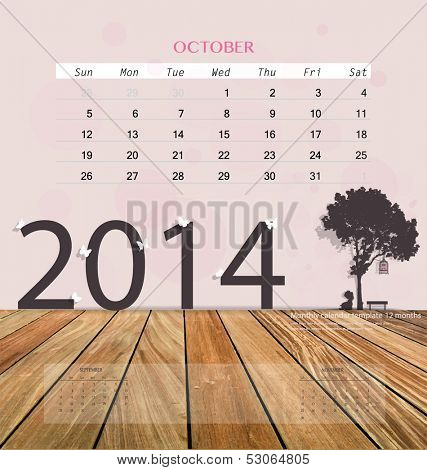 2014 calendar, monthly calendar template for October. Vector illustration.