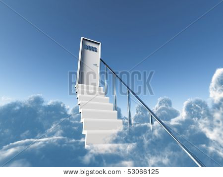 stairs in clouds to a boss door on a background blue sky