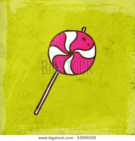 Spiral Lollipop Sweet Candy. Cute Hand Drawn Vector illustration, Vintage Paper Texture Background