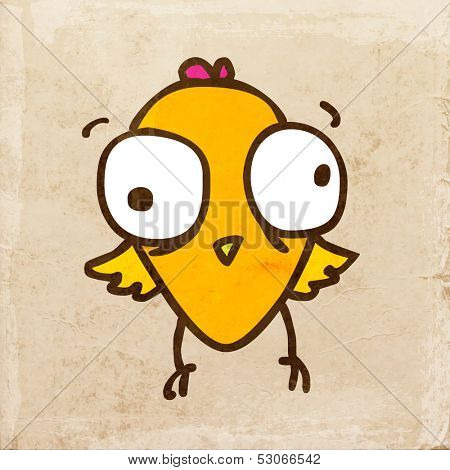 Cartoon Chick Bird. Cute Hand Drawn Vector illustration, Vintage Paper Texture Background