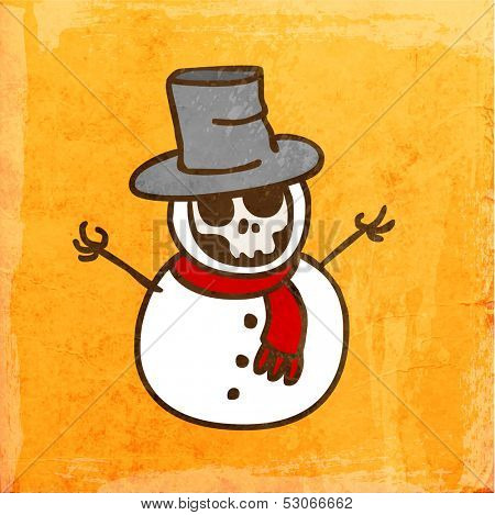 Cartoon Skeleton Snowman. Cute Hand Drawn Vector illustration, Vintage Paper Texture Background