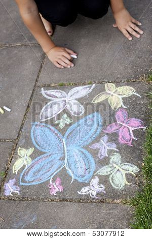 Chalk Drawing Of Butterflies On Sidewalk