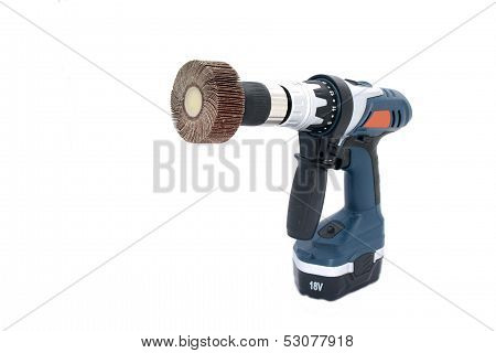 Angled View Of Drilling Machine With Flap Wheel