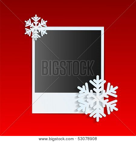 Christmas Background.photo On A Red Background Decorated With White Snowflakes.vector