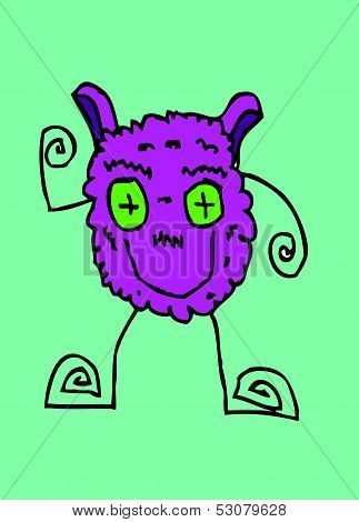 Cartoon cute monsters in Jaidee Family Style