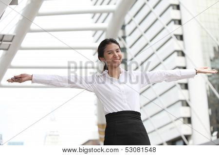 Happy Business Woman Sucess With Stretch The Arms