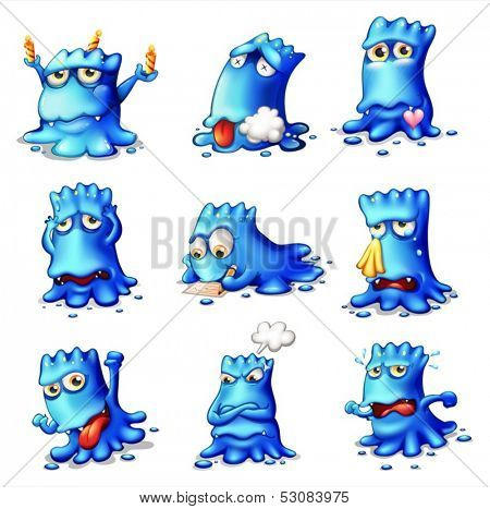 Illustration of the nine blue monsters on a white background
