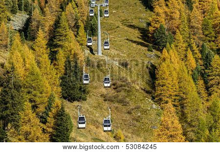 Ropeway In Ayas Valley (north Italy)