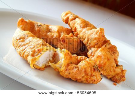 Chicken Pakoras On Thite Plate