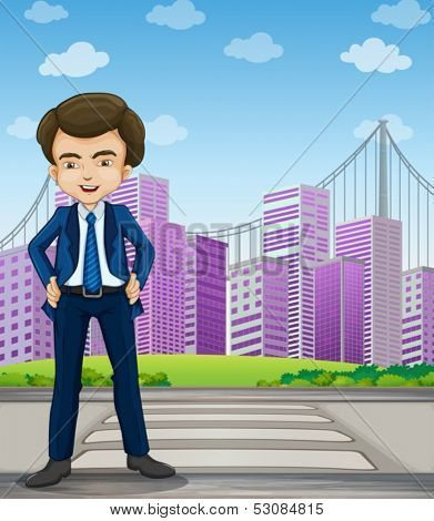 Illustration of a handsome businessman standing at the pedestrian lane