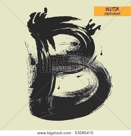 art sketched stylization alphabet in vector, black grungy font, sign B