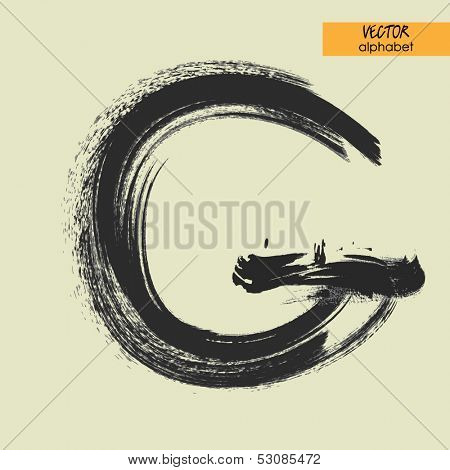 art sketched stylization alphabet in vector, black grungy font, sign G