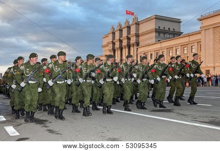 Samara, Russia - May 6: Parade Rehearsal Before The Day Of Victory In The Great Patriotic War On Squ