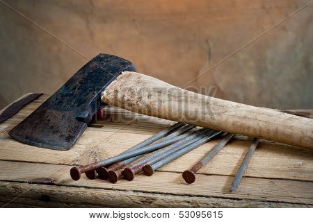 Old Ax With Nails