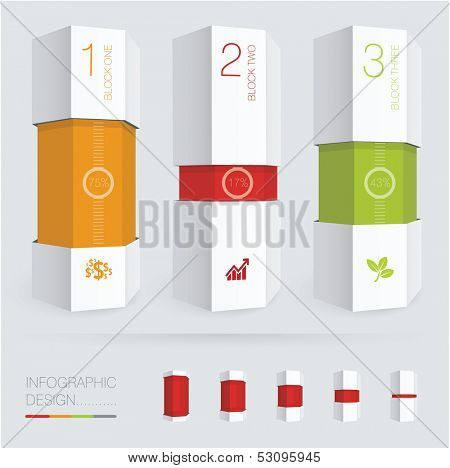 Paper prism vector infographic chart template.