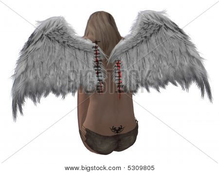 Blonde Hair Angel With Sitched Wings
