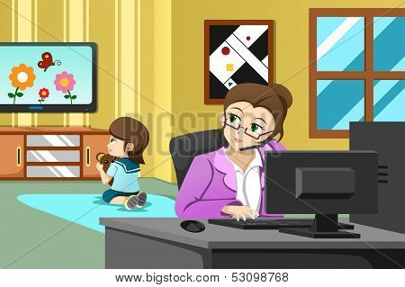 Mother Working In The Office