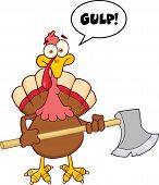 stock photo of ax  - Turkey With Ax Cartoon Mascot Character And Speech Bubble - JPG