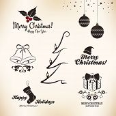 picture of christmas bells  - Christmas and New Year symbols for designs postcard - JPG