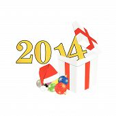 New 2014 Year With Christmas Ball And Suprise Vector Illustration