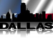 Dallas skyline and text reflected with rippled Texan flag illustration