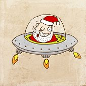 Santa Claus in the Flying Saucer. Cute Christmas Hand Drawn Vector illustration, Vintage Paper Textu