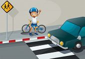 stock photo of kinetic  - Illustration of a boy with a bike standing near the pedestrian lane - JPG