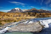 stock photo of pain-tree  - Cascada Paine in Torres del Paine National Park - JPG
